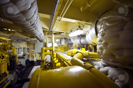 Tugboat Engine Room stock photo, The engine room of a tugboat with valves, vents, exhaust, pipes and plumbing by Corepics VOF