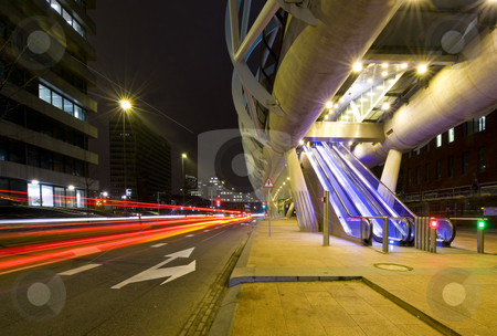 Futuristic tram tube stock photo, The modern looking, futuristic elevated tram line in the Hague, the Netherlands at night by Corepics VOF