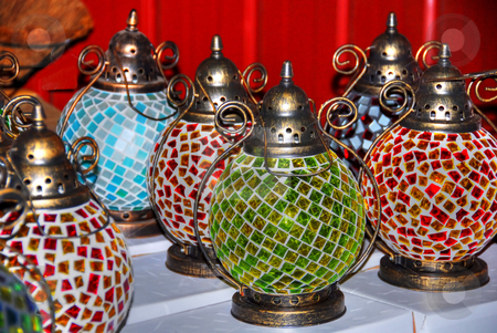 Lanterns stock photo, Beautiful colored glass lanterns by Laura Smith