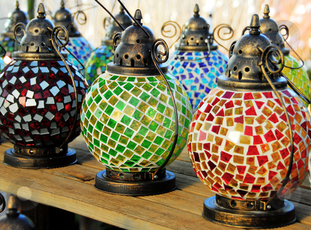 Lanterns stock photo, Beautiful colored glass lanterns by Laura Smith