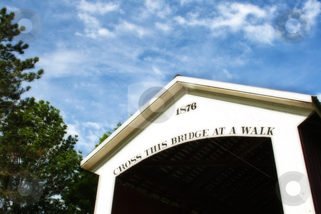 Covered Bridge With Blue Sky stock photo, Covered bridge with blue sky in indiana by Dennis Crumrin