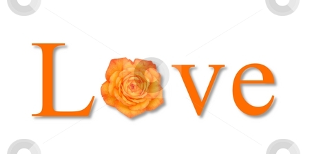 Love Flower Orange stock photo, The text love with a flower on white background. by Henrik Lehnerer