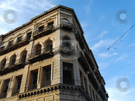 19th Century Building Balconies and Windows  stock photo, Facade - Former hotel and then building of the School of Humanities and Sciences of the University of the Republic by MARIANELLA CELIO