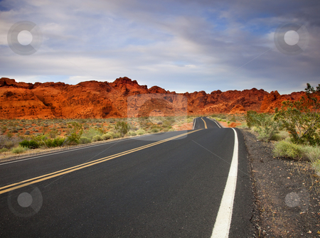 Valley of Fire Roadway stock photo, The highway passing through the Valley of Fire State PArk in Nevada by Mike Dawson