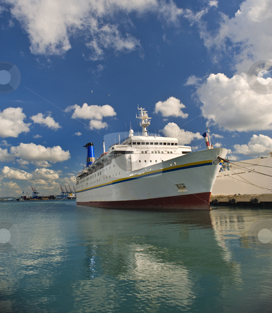 Cruise ship stock photo, Cruise ship at Haifa port, Israel by Noam Armonn