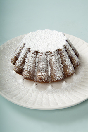 Pound cake stock photo, Pound cake with powdered sugar by Noam Armonn