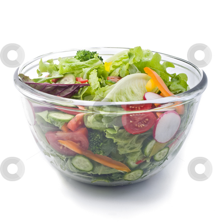 Fresh salad bowl stock photo, Closeup on a fresh salad bowl. by Noam Armonn