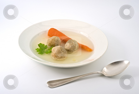 Matzo ball soup stock photo, Traditional passover matzo ball soup with spone and matza. by Noam Armonn