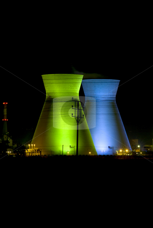 Haifa Israel oil Refinery stock photo, Israely oil Refinery in Haifa by night iluminated in green and blue by Noam Armonn