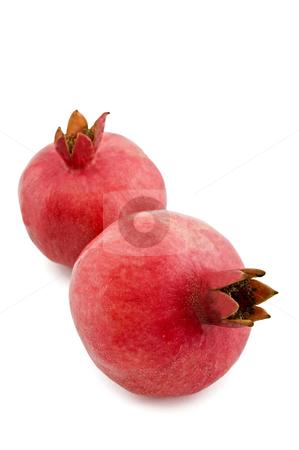 Pomegranate isolated stock photo, Two pomegranates isolated on white by Noam Armonn
