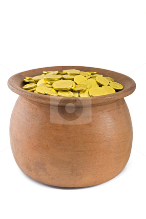 Pot of gold stock photo, Pot of gold isolated on white by Noam Armonn