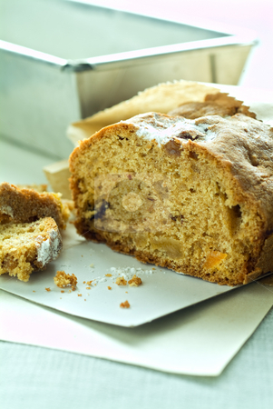 Pound cake stock photo, Pound cake with dreid fruits. by Noam Armonn