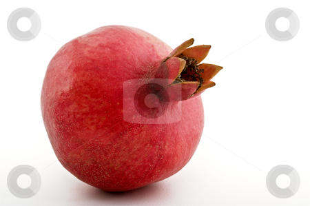Pomegranate isolated stock photo, Whole  pomegranate isolated on white by Noam Armonn