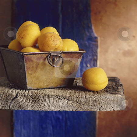 Apricots still life stock photo, Apricots on a shelf with blue and brown beckground by Noam Armonn