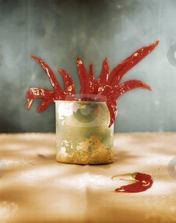 Red hot chili peppers stock photo, Studio still life of red hot chili peppers by Noam Armonn