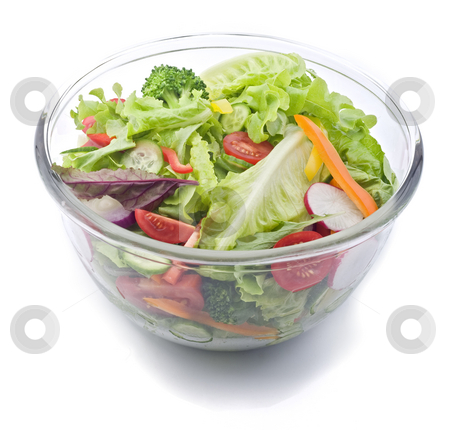 Fresh salad bowl stock photo, Closeup on a fresh salad bowl. by Noam Armonn