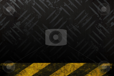 Grungy Hazard Background stock photo, Grungy diamond plate background texture with a yellow and black hazard stripes accent edge. by Todd Arena