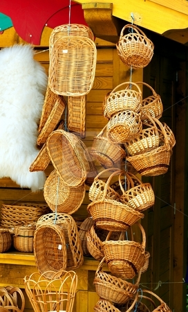 Willow baskets stock photo, Willow baskets on a market of a small city by Juraj Kovacik