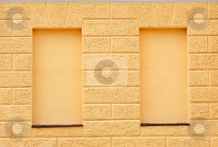 Blind windows stock photo, Detail of a facade of an historical building with two blind windows by Juraj Kovacik