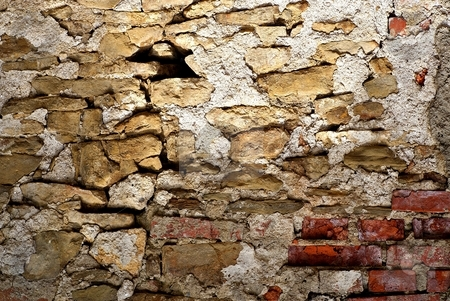 Old wall detail stock photo, Old wall structure from stones and blocks by Juraj Kovacik