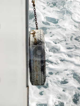 Ships fender stock photo, View of the ship's fender during navigation by Sinisa Botas