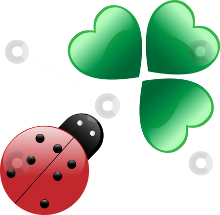 Ladybug and hearts stock vector clipart, Lady bug and three heart shaped leaves by Augusto Cabral Graphiste Rennes