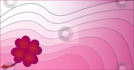 Lucky Love Background stock vector clipart, Wavy pink background with a clover made of hearts by Augusto Cabral Graphiste Rennes