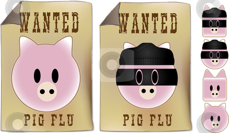Swine Flu Wanted Sign stock vector clipart, Swine flu Wanted sign by Augusto Cabral Graphiste Rennes