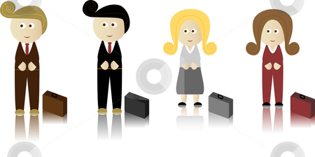 Retro Caucassian Business stock vector clipart, Business Men and Women with briefcase by Augusto Cabral Graphiste Rennes