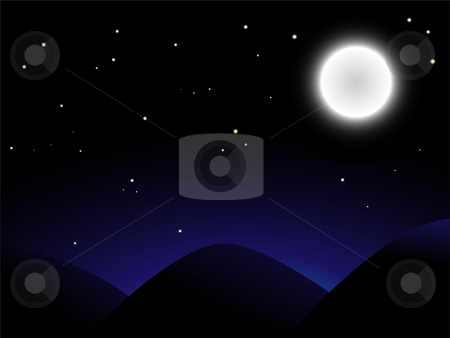 Balloon Moon stock vector clipart, Beautiful full moon shining onver mountains by Augusto Cabral Graphiste Rennes