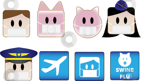 Swine Flu Airport stock vector clipart, Icons illustrating swine flu patients and animals in airports by Augusto Cabral Graphiste Rennes
