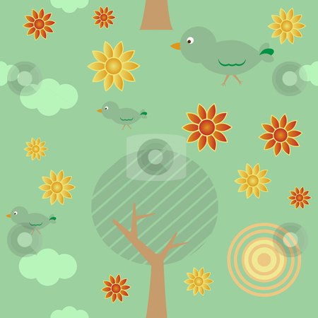 Retro Background Seamless Tiles stock vector clipart, Retro style seamless background with tree, sun, clouds, flowers and birds by Augusto Cabral Graphiste Rennes