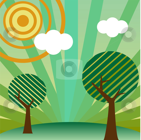 Retro style landscape stock vector clipart, Retro style landscape with tree, sun and clouds by Augusto Cabral Graphiste Rennes