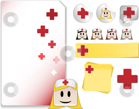 Set for Nurse Day Celebration Day stock vector clipart, Set of Nurse Day Celebration Day with note, sticker, adhesive, and icons by Augusto Cabral Graphiste Rennes