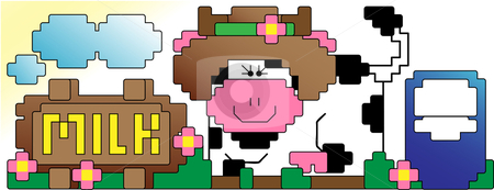 Cow and Milk stock vector clipart, Pixel Art style of a cow and a milk sign in farm by Augusto Cabral Graphiste Rennes