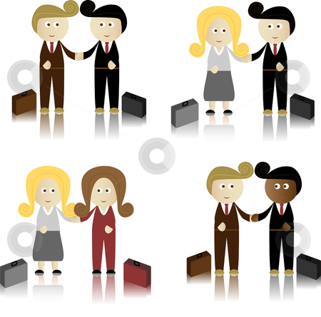 Businessmen ad businesswomen stock vector clipart, Business Men and Women shaking hands by Augusto Cabral Graphiste Rennes