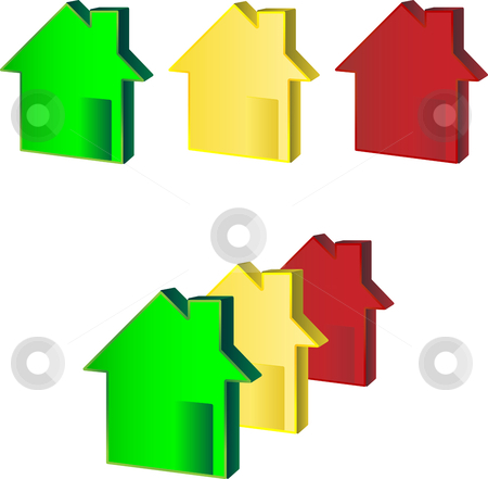 Houses Green Yellow Red stock vector clipart, Houses Green Yellow Red illustrating financial crisis by Augusto Cabral Graphiste Rennes