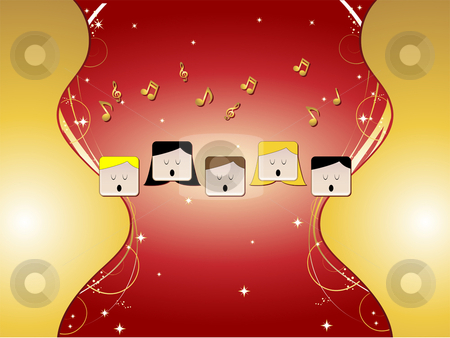 Choir with Ornaments stock vector clipart, 5 people in choir singing with music notes, stars, golden ornaments by Augusto Cabral Graphiste Rennes