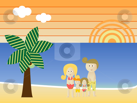 Retro Beach Family  stock vector clipart, Retro Beach Sunset Landscape Family Vacation by Augusto Cabral Graphiste Rennes