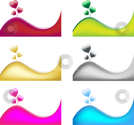 Hearts and Wave stock vector clipart, Heart Balloons and Colored wave. 6 different colors. Editable vector by Augusto Cabral Graphiste Rennes