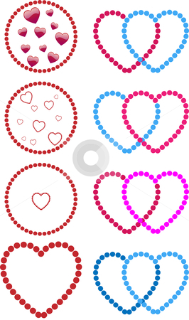 Hearts made of dots stock vector clipart, Hearts made with dots. Straight, gay and lesbian couples by Augusto Cabral Graphiste Rennes