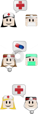 Medical Conversation stock vector clipart, Doctors, nurses and surgeons talking by Augusto Cabral Graphiste Rennes