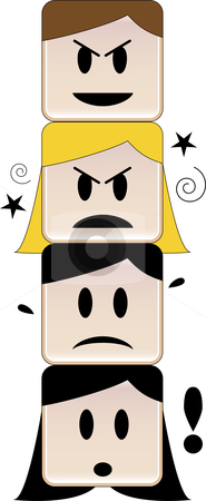 Agressive competition stock vector clipart, Heads on top of each other expressing different feelings under a mean face by Augusto Cabral Graphiste Rennes