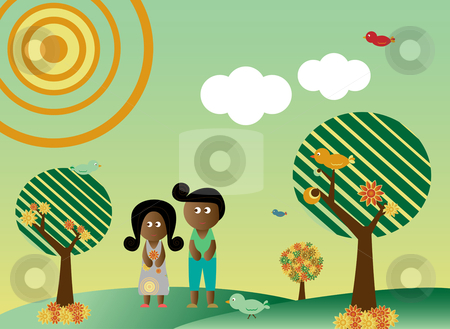 Retro style african american couple in landscape stock vector clipart, Retro style african american couple in a background with tree, sun, clouds, flowers and birds by Augusto Cabral Graphiste Rennes
