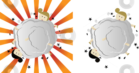 Two boys fighting stock vector clipart, Two boys fighting and punching each other by Augusto Cabral Graphiste Rennes