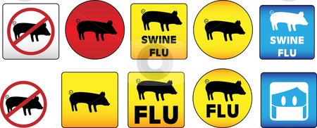 Swine Flu Signs stock vector clipart,  by Augusto Cabral Graphiste Rennes