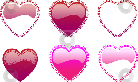 Heart and Love Word stock vector clipart, Heart shapes with shadow and the word love written inside. Totally editable vector EPS8 by Augusto Cabral Graphiste Rennes