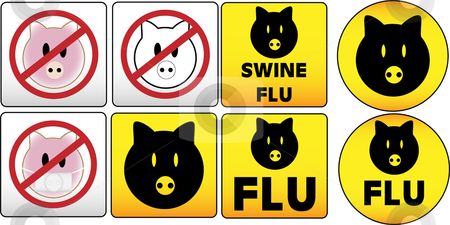 Swine Flu Sign stock vector clipart, Swine Flu Signs by Augusto Cabral Graphiste Rennes
