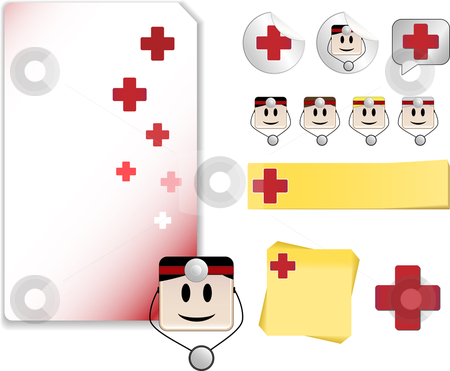 Set for Doctor Day Celebration Red Version stock vector clipart, Set of Doctor Day Celebration Day with note, sticker, adhesive, and icons by Augusto Cabral Graphiste Rennes