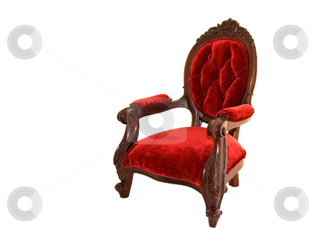Red Velvet Chair stock photo, This old fasioned type red velvet chair with dark wood frame is isolated on a white background. by Valerie Garner